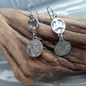 Silver Textured Earrings | Minimalist Circle